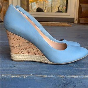 Blue leather wedge heels